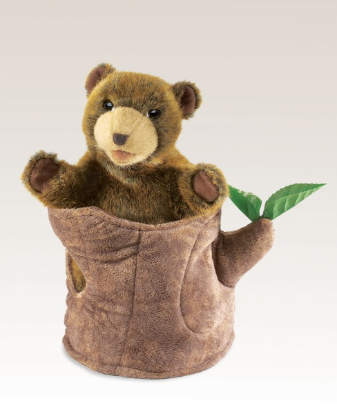 Bear In Tree Stump       Puppet - Folkmanis (2904)