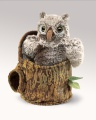 Owlet In Tree Stump Puppet - Folkmanis (3035)